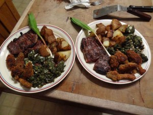 From Tim:NY Strips, Ramps n taters, fried morels and poke salet.