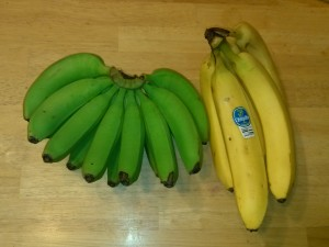 Home grown, local bananas on the left, store bought on the right