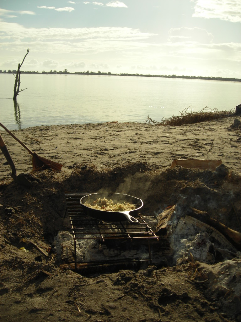 Campfire Breakfast While Primitive Camping on an Island