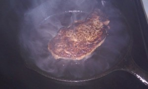 Smoking ribeye