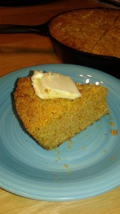 a slice of coarse rustic cornbread